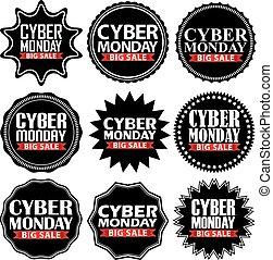 Cyber monday big sale black signs set, vector illustration