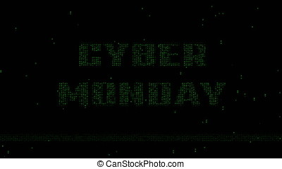 Cyber Monday binary code animated background - Glowing green...