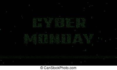 Cyber Monday binary code animated background - Glowing green...