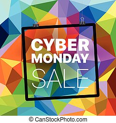 Cyber monday concept. Abstract background of different color figures