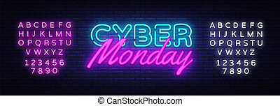 Cyber Monday concept banner in fashionable neon style, luminous signboard, nightly advertising of sales rebates of cyber Monday. Vector illustration for your projects. Editing text neon sign