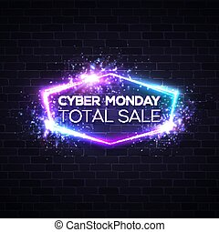 Cyber Monday concept banner in neon style, Illuminated glowing signboard. Seasonal sale online shopping concept. Night advertising sign of sales rebates of Cyber Monday. Color vector illustration.