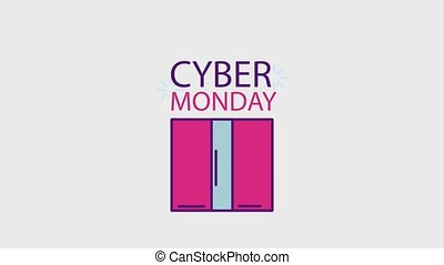 cyber monday concept - gift box e- commerce cyber monday...