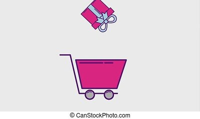 cyber monday concept - gift box on shopping cart cyber...