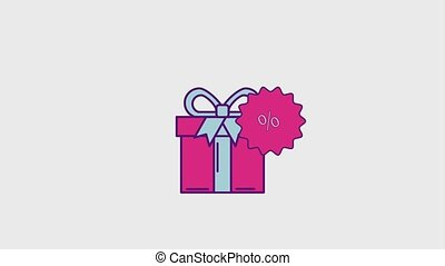 cyber monday concept - gift box surprise sticker discount...
