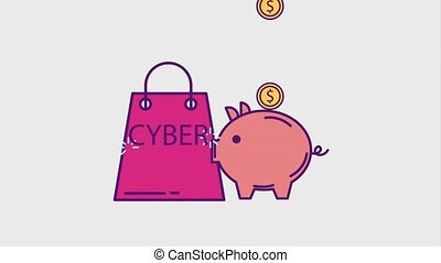 cyber monday concept - shopping bag and piggy bank money...