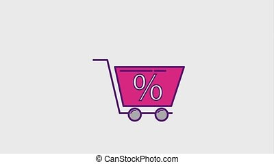 cyber monday concept - shopping cart percentage discount...