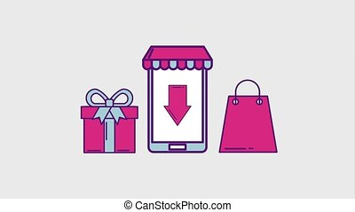 cyber monday concept - smartphone shopping online cyber...