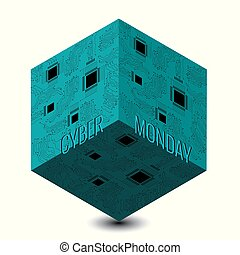 Cyber Monday. Discount day in online stores. Abstract techno 3D cube, event name, illustration of a microcircuit.