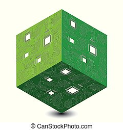Cyber Monday. Discount day in online stores. Abstract techno 3D cube, illustration of a microcircuit.