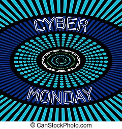 Cyber Monday. Discount day in online stores. Abstract techno background, event name