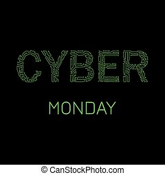 Cyber Monday. Discount day in online stores. Event name, illustration of a microcircuit.