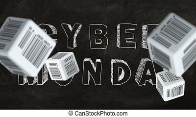 Cyber Monday - Falling cubes with barcode labels on...