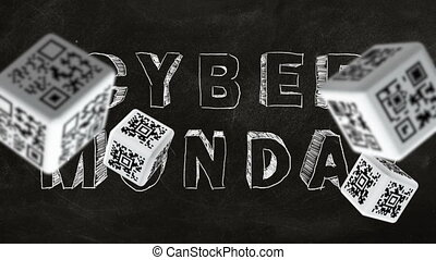 Cyber Monday - Falling cubes with QR code labels on...