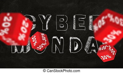 Cyber Monday - Falling red cubes with symbols of percent on...
