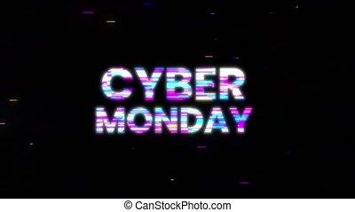 Cyber Monday Glitch Effect Emblem. Motion graphics