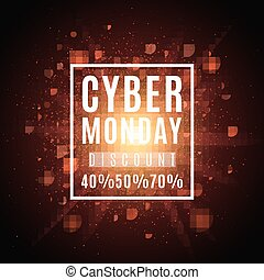 Cyber Monday. Great sale. Brochure for the poster. Background of red lights and glare. A bright flash of light