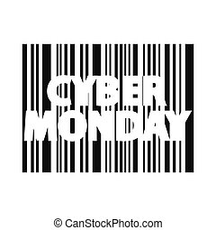 Cyber monday inscription. Bar code style