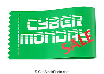 Cyber Monday inscription on the clothing tag, 3D rendering