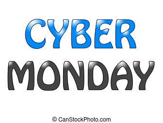 Cyber Monday lettering text on a white background