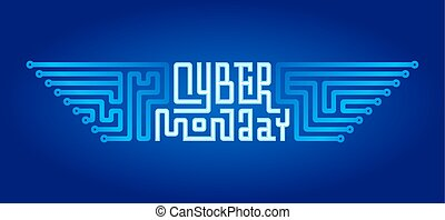 Cyber Monday Lettering with Circuit Board