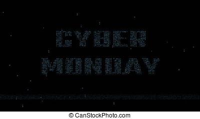 Cyber Monday logo on blue matrix code 4K - Glowing blue...