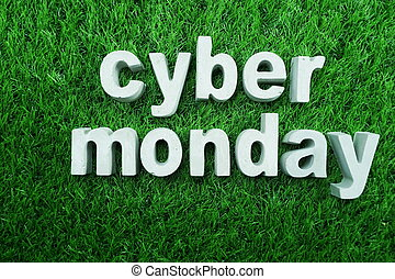 Cyber Monday made from concrete alphabet business concept