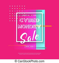 Cyber Monday media banner. Online shopping. Vector