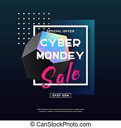 Cyber Monday media concept banner. Vector illustration