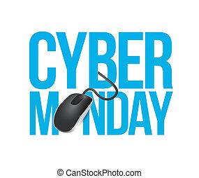 cyber monday mouse sign illustration design over white