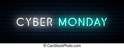 Cyber Monday neon sign. Long horizontal light banner . Vector bright signboard.