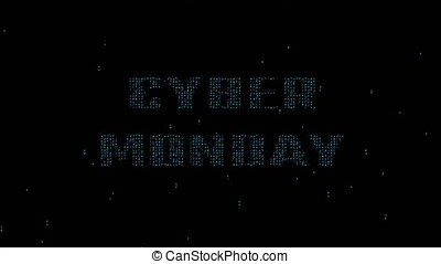 Cyber Monday on binary code background 4K - Glowing blue...