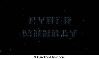 Cyber Monday on binary code background 4K - Glowing blue...