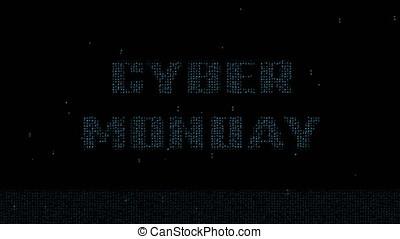 Cyber Monday on matrix code background 4K - Glowing blue...