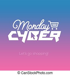 Cyber Monday online shopping and marketing concept - Cyber...