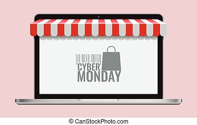 Cyber monday or black friday and Online store shopping...