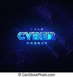 Luminous cyber hologram - Cyber Monday. Promotional online...