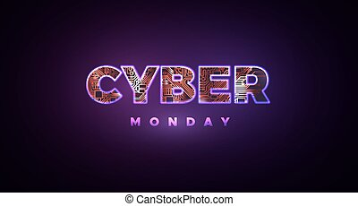 Cyber Monday. Promotional online sale event. Vector...
