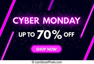 Cyber Monday sale banner in fashionable neon style. Shop now concept. Nightly advertising of sales rebates of Cyber Monday. Bright purple luminous signboard. Modern neon text. Vector illustration