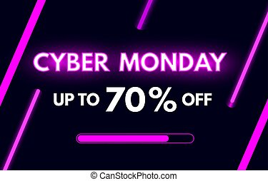 Cyber Monday sale banner in modern neon style. Bright purple luminous signboard. Nightly advertising of sales rebates of Cyber Monday. Shop now concept. Modern neon text. Vector illustration