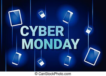 Cyber Monday Sale Banner With Digital Tablets On Background Online Shopping Discount Poster