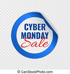 Cyber Monday sale black round sticker with curled corners on transparent background, vector illustration