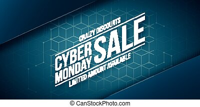 Cyber Monday Sale, crazy discounts, vector banner template....