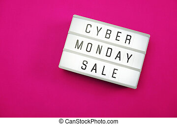 7ee62ccc98 Cyber monday sale shopping sign with pink purple computer mouse on ...