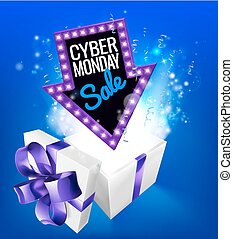 A blue Cyber Monday Sale arrow sign exploding out of a gift box with a purple ribbon bow