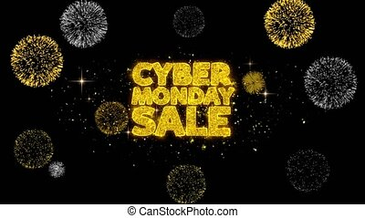 Cyber Monday Sale Golden Text Blinking Particles with Golden...