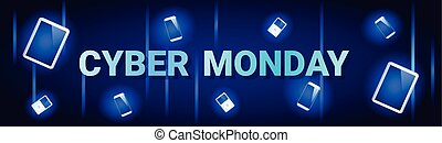 Cyber Monday Sale Horizontal Banner With Digital Tablets On Background Online Shopping Discount Poster