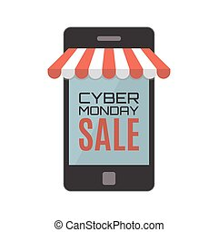 Cyber Monday sale. Mobile phone isolated on white.
