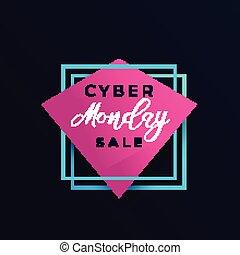 cyber monday sale poster, banner design, vector