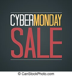 Cyber Monday Sale Poster Vector Illustration. Text on a Dark Background.